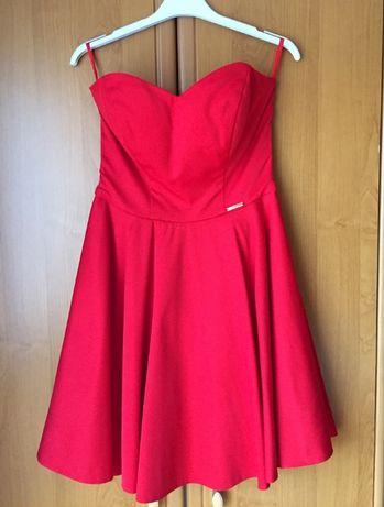 Gorsetowa czerwona sukienka XS/S