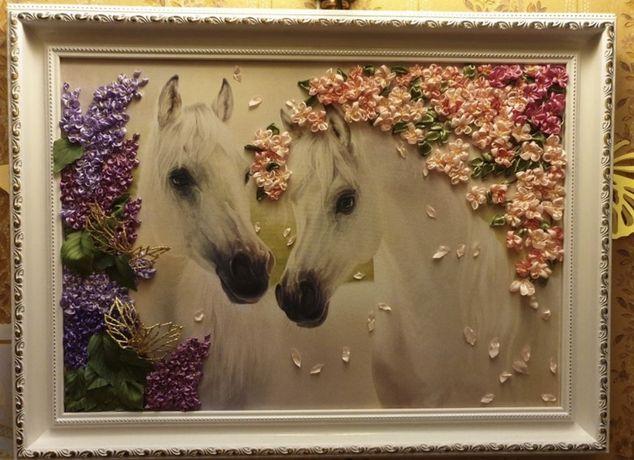 Картина лентами Белые лошади 50×40