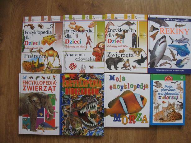 Encyklopedie dla dzieci 8 szt zwierząt, morza... nowe i bdb