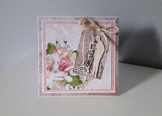 Kartka na Ślubna ręcznie robiona scrapbooking ślub