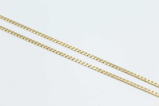 Śliczny złoty łańcuszek pancerka -585- 51 cm
