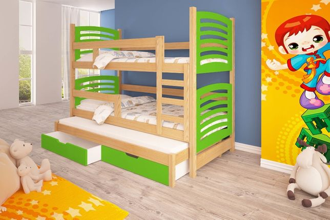 Trzyosobowe łóżko piętrowe OLEK z pojemnymi szufladami
