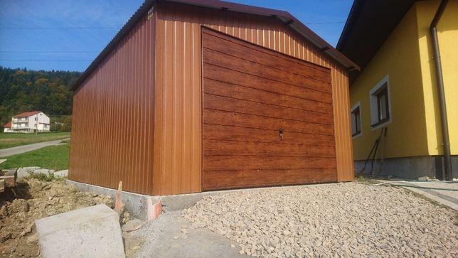 Garaż blaszany 4x6 drewnopodobny złoty dąb ,garaże blaszane,wiaty,