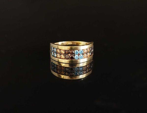 Złoto 585-Złoty pierścionek z cyrkoniami rozm 18