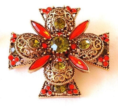 """Винтажная коллекционная брошь """"Мальтийский крест"""" от компании EMMONS"""