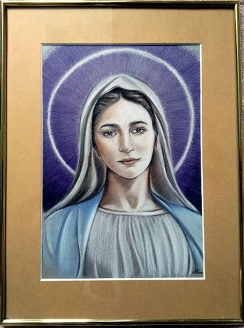 Obraz Matka Boża z Medjugorie wykonany kredkami
