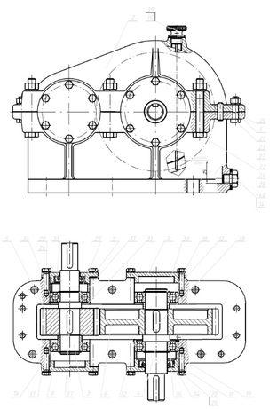 Projekty PKM CAD przekł. zębate podnośniki prasy zawory rysunek techn