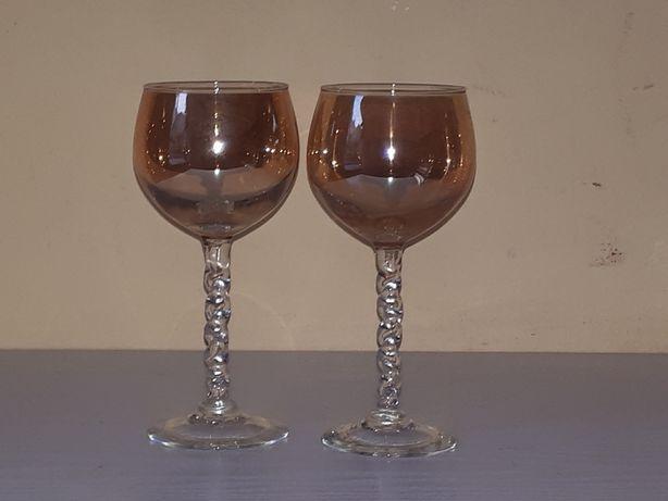 PRZEDWOJENNE 2 dwa wysokie kielichy do wina szkło iryzujace