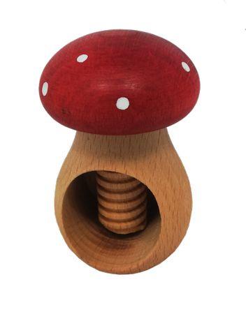 Grzybek, drewniany dziadek do orzechów, muchomor