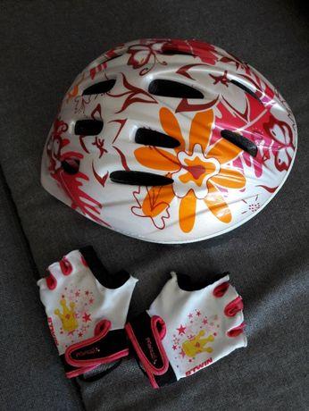 kask rowerowy dziewczęcy S/M plus rękawiczki rowerowe b'twin