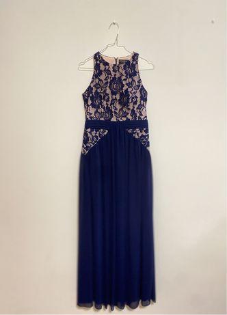 Vestido Cerimonia Azul Escuro com Renda