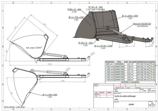 Szufla hydrauliczna WIDLAK 100 cm 120 każda szerokość PRODUCENT