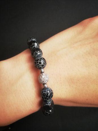 Bransoletka agat pękany czarna zdrowotne kamienie prezent handmade