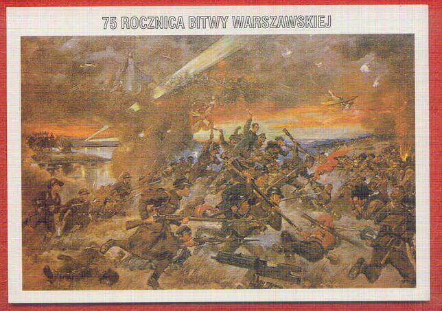 Kartka Bitwa Warszawska - 75 rocznica ,Jerzy Kossak, reprint