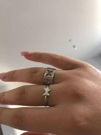 кольца парные с бабочками новые 2 шт
