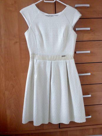 Śliczna sukienka ecru beż rozmiar S 36