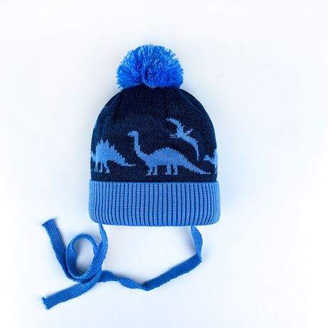 Шапка синяя с голубым с помпоном с динозаврами на флисе зимняя