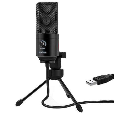 Microfone USB Preto para Gravação e Transmissão em PC