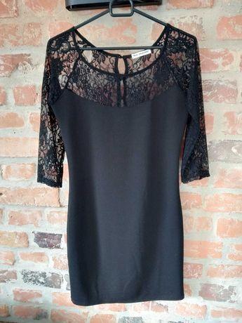 Sukienka mała czarna z koronką, rozmiar S, mini