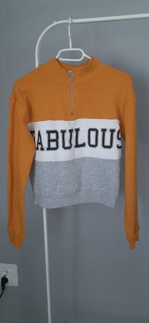 Bluza kolorowa z napisem i pół golfem rozm. 158/164