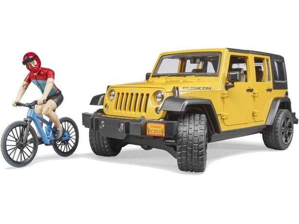 BRUDER 02543 Jeep Wrangler z figurką kolarza i rowerem górskim
