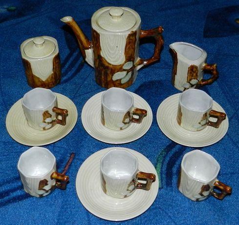 Kolekcja porcelana, brązowo beżowy komplet do kawy/herbaty