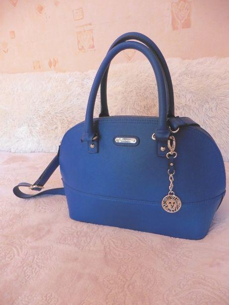 Из сша!красивая синяя кожаная сумка Anne Klein в идеальном состоянии