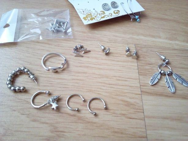 Kolczyki w kolorze srebrnym i inne różności