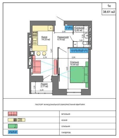 1- комн. квартира 39,20 кв.м /Nikostar Comfort+/Новострой