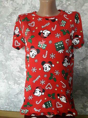 Новогодняя футболка пижама для дома в минни маусах