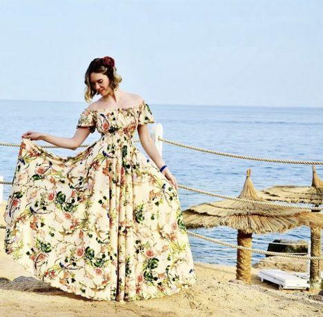 Платье макси цветочный принт