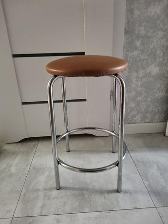 Taboret krzesło wysoki hoker brąz chrom