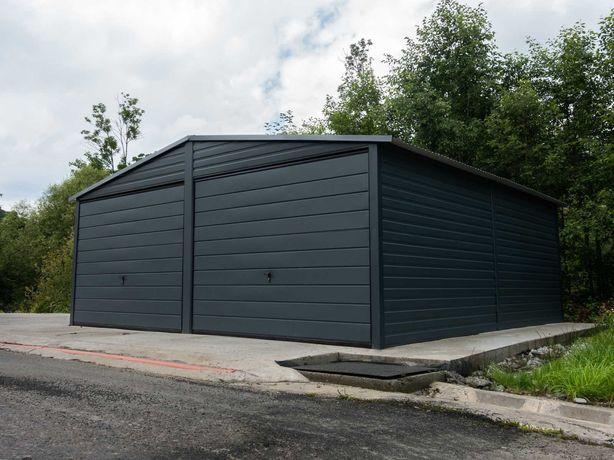 Garaż blaszany 6x6m dwuspadowy Matowy Grafit PREMIUM TRANSTAL.COM