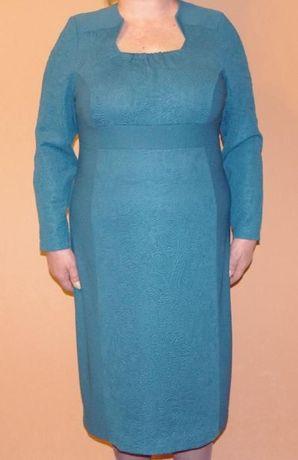 Платье Новое Красивое Цвета Морской Волны Трикотажное 54 Размер