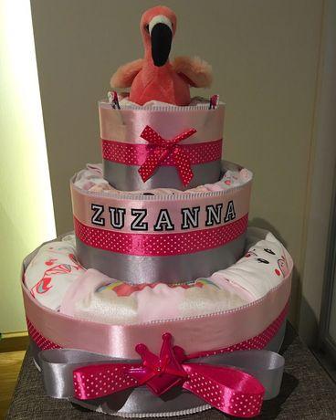 Tort pieluszkowy, tort z pieluszek, tort z pampersów - Flaming