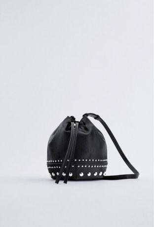 Сумка zara, сумка-мешочек с заклёпками zara