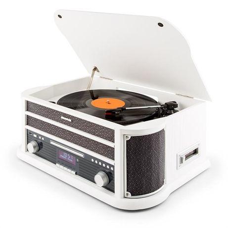 Belle Epoque 1908 DAB Wieża stereo retro Gramofon DAB+ Bluetooth biała