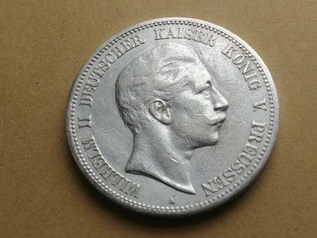 Moneta 5 Marek Prusy Wilhelm II 1903 A Ładna