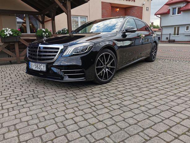 Auto samochód limuzyna do ślubu Mercedes S long