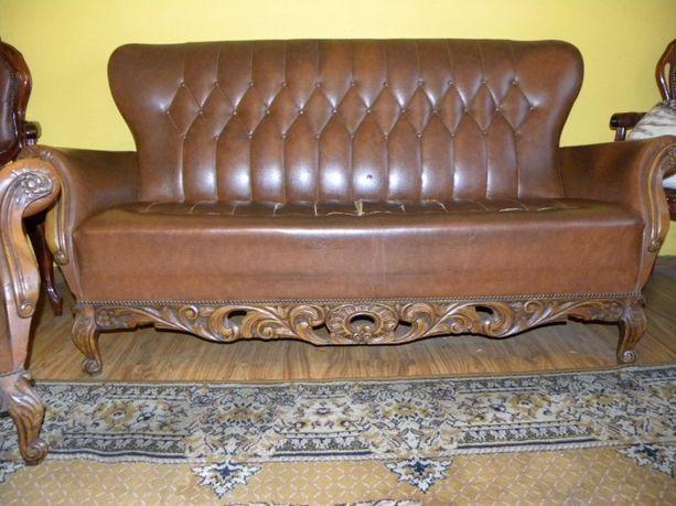 Sofa plus dwa fotele Ludwik bogato rzezbione do renowacji