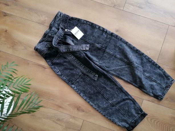 Nowe Spodnie Jeansy slouchy balloon fit z paskiem do zawiązania typu p