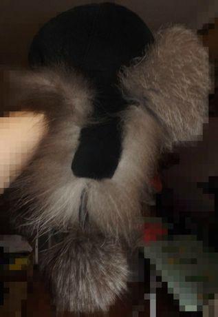 Шапка ушанка из меха чернобурки