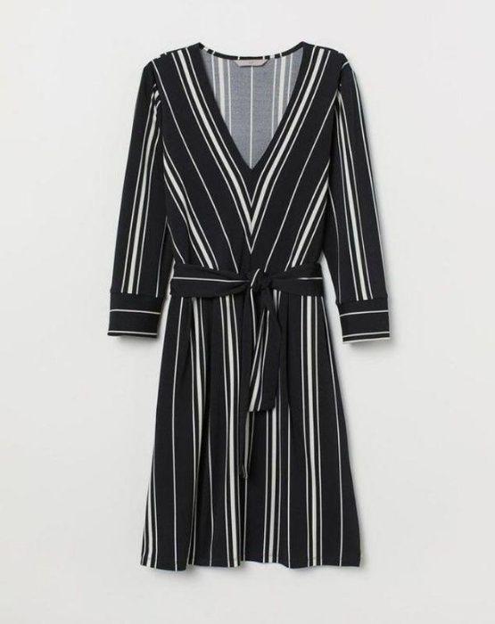 Трендовое платье в полоску/ платье с поясом/актуальный вырез/ h&m/карм Запорожье - изображение 1