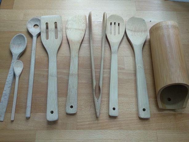 Przybory kuchenne narzędzia drewniane bambusowe zestaw w stojaku kompl