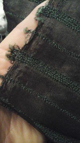 Tkanina brąz w zielony pasek
