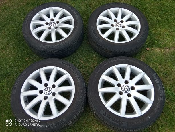 Felgi aluminiowe VW 16 6.5J ET50 5*112 + opony Barum 205/55 R16V