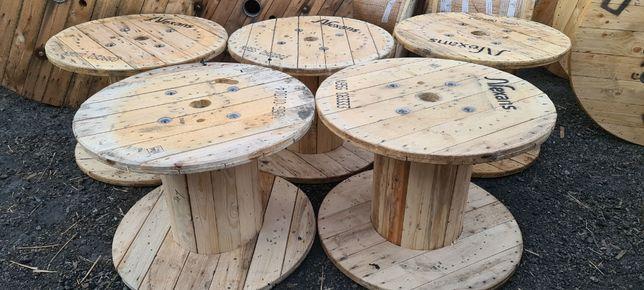 SZPULA PO KABLACH szpulka szpule bebny OKRĄGŁY STÓŁ drewniany 60-220cm