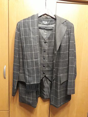Костюм 5 предметов женский юбка брюки пиджак жилет олива зеленый