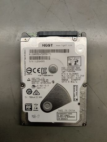Dysk Twardy HGST 500GB Z5K500, Praktycznie nowy, zero dni pracy