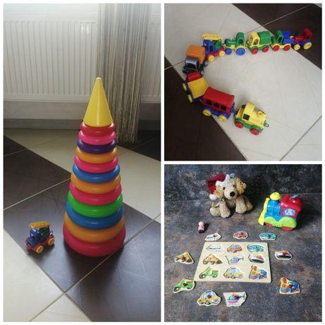 Большой пакет игрушек лот игрушек поровозик машинки пазлы пирамидка